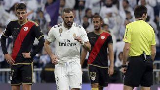 Karim Benzema celebra su anotación ante el Rayo Vallecano