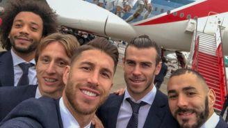 Jugadores del Real Madrid previo a viajar al Mundialito