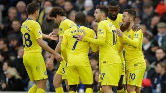 Jugadores blues celebran la victoria frente al Brighton