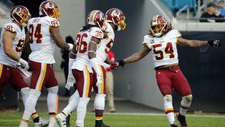 Redskins celebra una jugada defensiva contra los Jaguars
