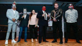 Psycho Clown, Mystezis Jr., Vanilla, Chessman, Vampiro y Pagano, durante conferencia de prensa