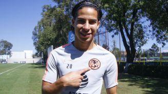 Diego Lainez durante un entrenamiento del América