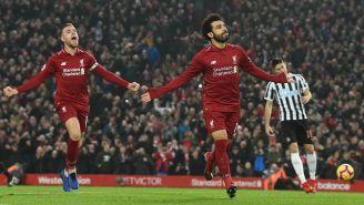 Mohamed Salah celebra una anotación con el Liverpool
