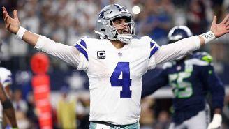 Prescott celebrando un TD de Cowboys