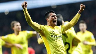 Pedro Porro festeja su gol contra el Atlético