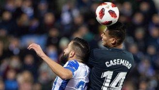 Casemiro disputa balón aéreo contra Leganés