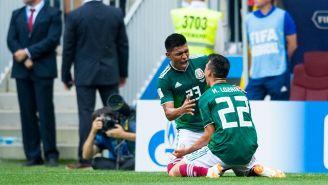 El festejo del gol del Chucky Lozano contra Alemania en Rusia