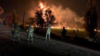 Elementos del Ejército resguardan la zona de la explosión