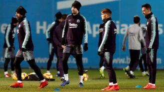 Barcelona durante un entrenamiento previo al encuentro ante el Leganés