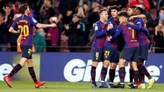Jugadores del Barcelona festeja gol de Dembélé