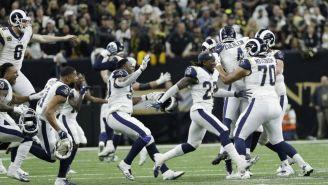 Jugadores de los Rams celebran el pase al Super Bowl LIII