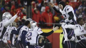 Jugadores de Patriots festejan tras ganar su pase al SB LIII