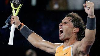 Nadal grita tras ganar el juego y avanzar a la Final