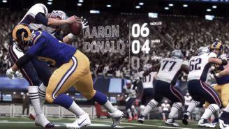 Aaron Donald tackleando a Tom Brady en el Madden 19