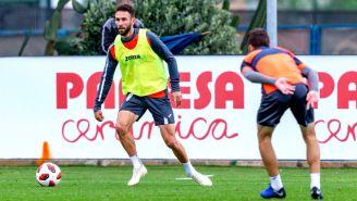Layún, en un entrenamiento durante su paso con el Villarreal