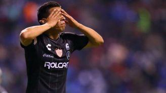 Ángel Sepúlveda festeja su gol contra el Puebla