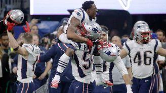 Jugadores de los Patriots festejan el triunfo contra los Rams
