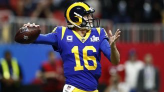 Jared Goff durante el Super Bowl LIII