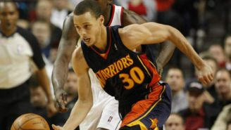 Stephen Curry durante el Warriors vs Blazers en el 2010