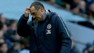 Sarri al término del partido entre el Chelsea y el Manchester City
