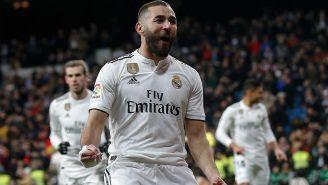 Benzema celebrando un gol con el Rea Madrid