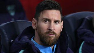 Messi en la banca del Barcelona previo al Clásico español