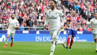 Sergio Ramos festeja un gol contra el Atlético de Madrid