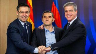 Valverde en compañía de Josep Maria Bartomeu