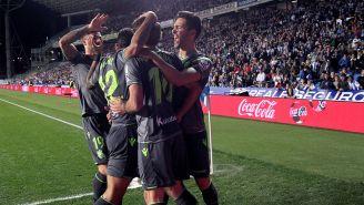 Real Sociedad festejando un gol ante el Leganés
