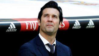 Solari, durante el partido contra Girona