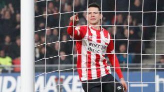 Lozano, durante un partido del PSV
