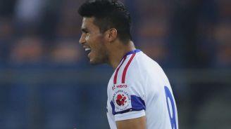 Dávila celebra su anotación con el Delhi Dynamos