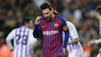 Messi después de fallar un penalti ante el Valladolid