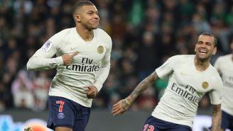Mbappé celebra una anotación con el PSG