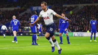 Kane celebra una anotación en la Premier League