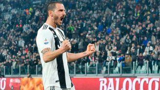 Bonucci celebra una anotación con la Juventus