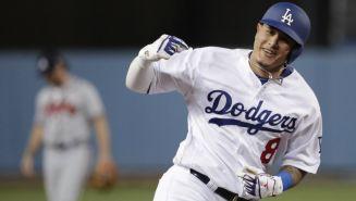 Manny Machado en festejo durante un encuentro con Los Ángeles Dodgers