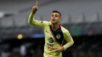 Nicolás Benedetti festeja su primer gol con las Águilas