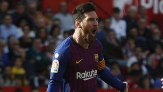 Messi festeja un gol con el Barcelona en la Copa del Rey