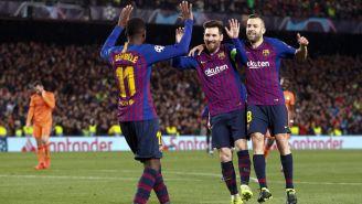 Messi, Alba y Dembélé celebran una anotación del '10'