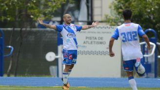 Pablo Leandro Gómez festeja un gol con la Sub 20 del Puebla