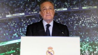 Florentino Pérez durante una conferencia de prensa
