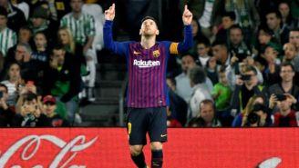 Messi festeja una anotación con el Barcelona en La Liga