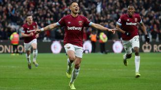 Javier Hernández festeja gol con el West Ham