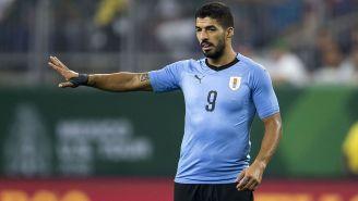 Luis Suárez en un partido con Uruguay