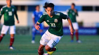 Diego Lainez durante un juego del Tri Sub 20