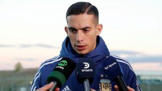 Iván Marcone atiende a los medios tras un entrenamiento