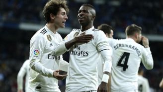 Vinicius festeja gol con el Real Madrid