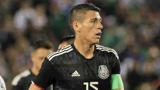 Héctor Moreno durante el juego ante Chile