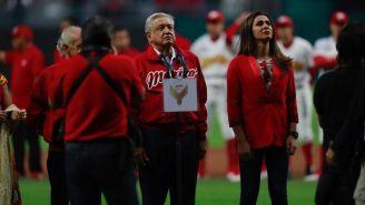 López Obrador en la inauguración del nuevo estadio de Diablos